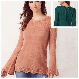 w/TAG Pointelle Mixed weaving Crewneck SWEATER TOP